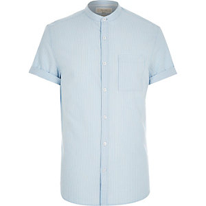 Blue stripe short sleeve grandad shirt