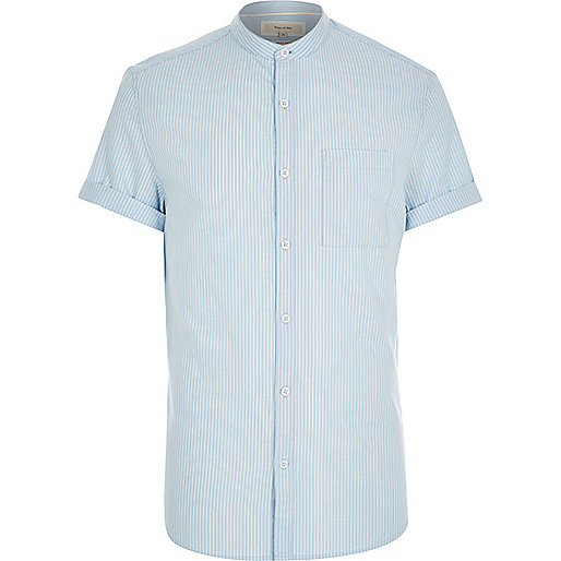 Blue stripe short sleeve grandad shirt shirts sale men for Short sleeve grandad shirt
