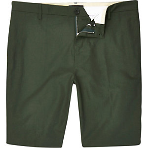 Green tailored Oxford shorts