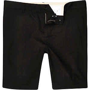Black sateen shorts