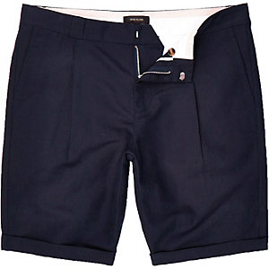 Navy smart linen-blend shorts