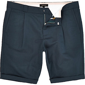 Blue smart linen-blend shorts