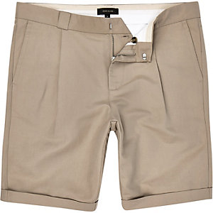 Brown smart linen-blend knee length shorts