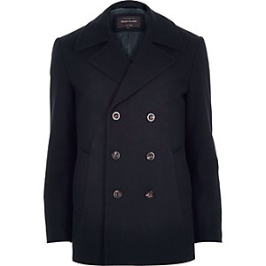 Navy smart wool-blend peacoat