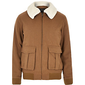 Brown wool-blend harrington jacket