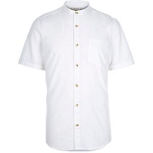 White short sleeve grandad shirt