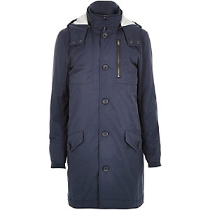 Navy high neck parka coat
