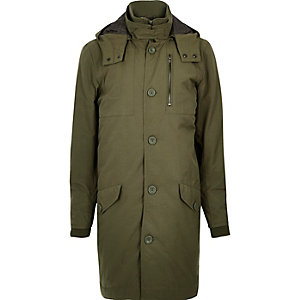 Khaki green high neck parka coat