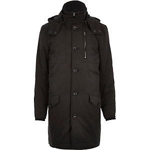 Black casual long parka jacket