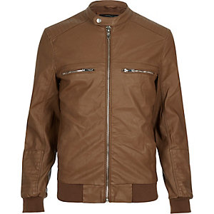 Light brown leather-look bomber jacket
