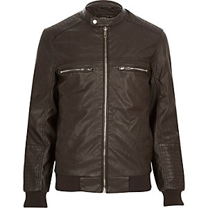 Dark brown leather-look bomber jacket