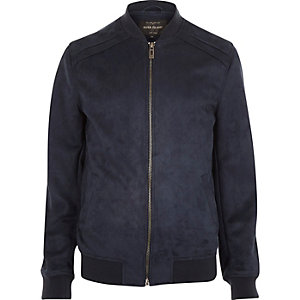 Navy faux-suede bomber jacket