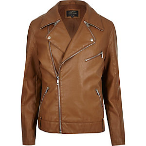 Light brown leather-look biker jacket