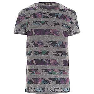 Grey floral stripe t-shirt