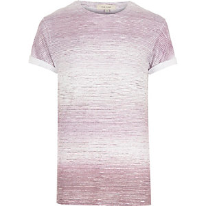 White and red faded stripe t-shirt