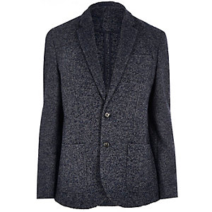 Grey wool-blend herringbone jacket