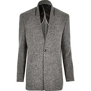 Grey textured wool-blend slim blazer