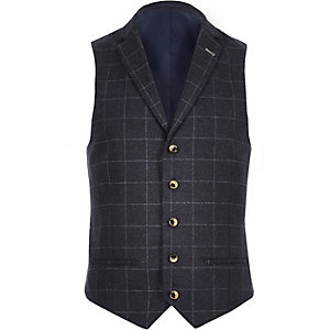 Navy check wool-blend vest