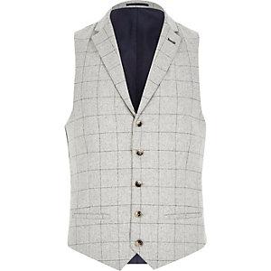 Grey wool-blend check waistcoat