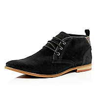 Black perforated suede desert boots