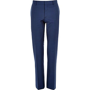Blue wool-blend slim suit trousers