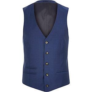 Blue wool-blend suit waistcoat