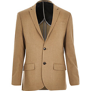 Camel brown wool-blend slim blazer
