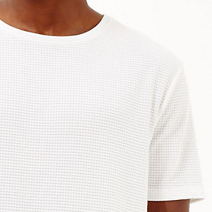 White grid print t-shirt