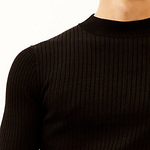 Black ribbed stand neck jumper