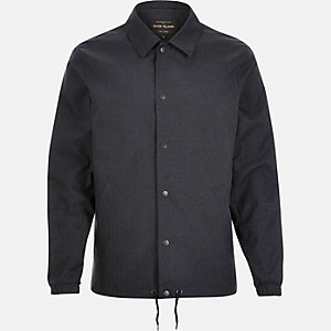 Navy herringbone casual coach jacket