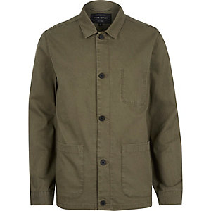 Khaki green utility worker jacket