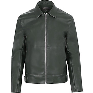 Green leather-look jacket