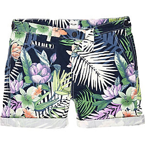 Navy Only & Sons Hawaiian print shorts