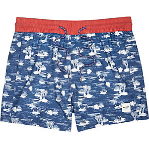 Navy Only & Sons Hawaiian print swim shorts