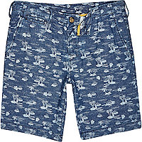 Blue Only & Sons Hawaiian print denim shorts