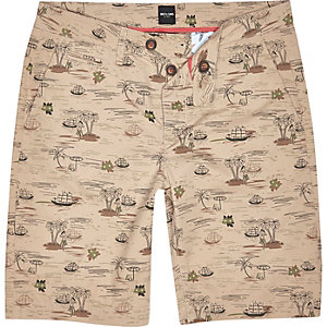 Brown Only & Sons Hawaiian print chino shorts