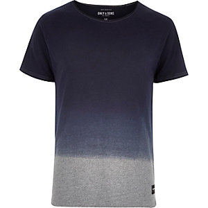 Navy Only & Sons faded dip dye t-shirt