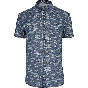 Blue Only & Sons Hawaiian denim shirt