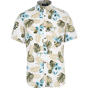 White Only & Sons leaf print shirt