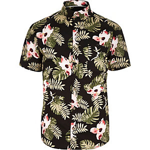 Black Only & Sons Hawaiian leaf print shirt
