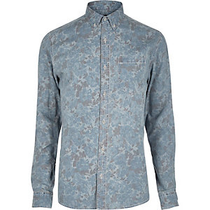 Light blue Only & Sons faded print shirt