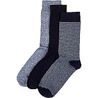 Navy basket weave socks pack