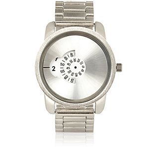Silver tone concealed face watch
