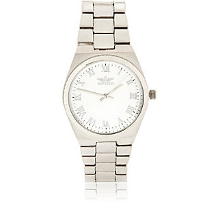 Silver tone simple face chain watch