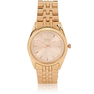 Rose gold tone simple face chain watch