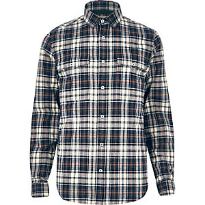 Blue check two pocket shirt
