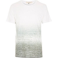 White and khaki faded print t-shirt