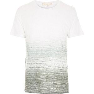White and khaki faded print t-shirt