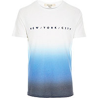 White NYC faded print t-shirt