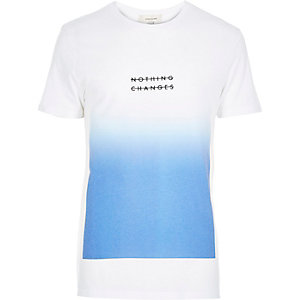 White nothing changes faded print t-shirt